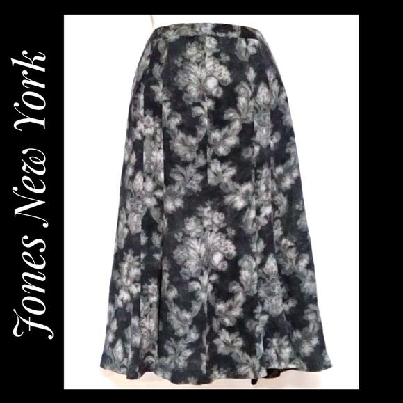 Jones New York Skirt Charcoal Floral Abstract 4P